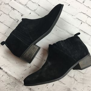 Matisse Black Leather Short Ankle Booties Distress